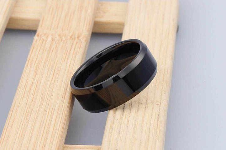 Anel de aço inoxidável anel de aço inoxidável o jóias por atacado preto anéis de casamento