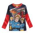 Пожарный сэм детей Топы и TeesBoys одежда детей мультфильм длинный рукав футболки ребенка 100% хлопок одежда