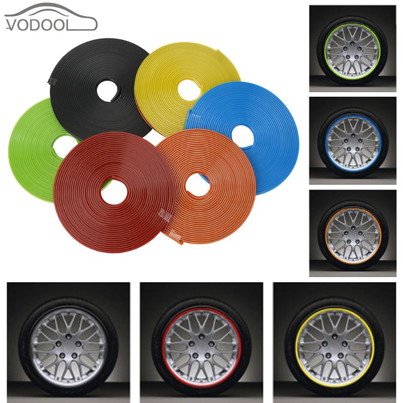 8M Car Wheel Hub Sticker Auto Trim Decoration Strip Protector Ring Covers Wheel Tire Edge Changer Guard Sticker Auto Accessories