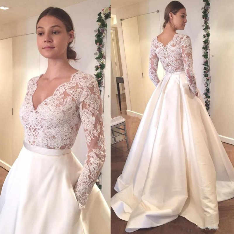 Lorie Long Sleeve Wedding Dress V Neck A Line Liques Lace Top Satin Skirt Gown With Pocket Custom Made Bride
