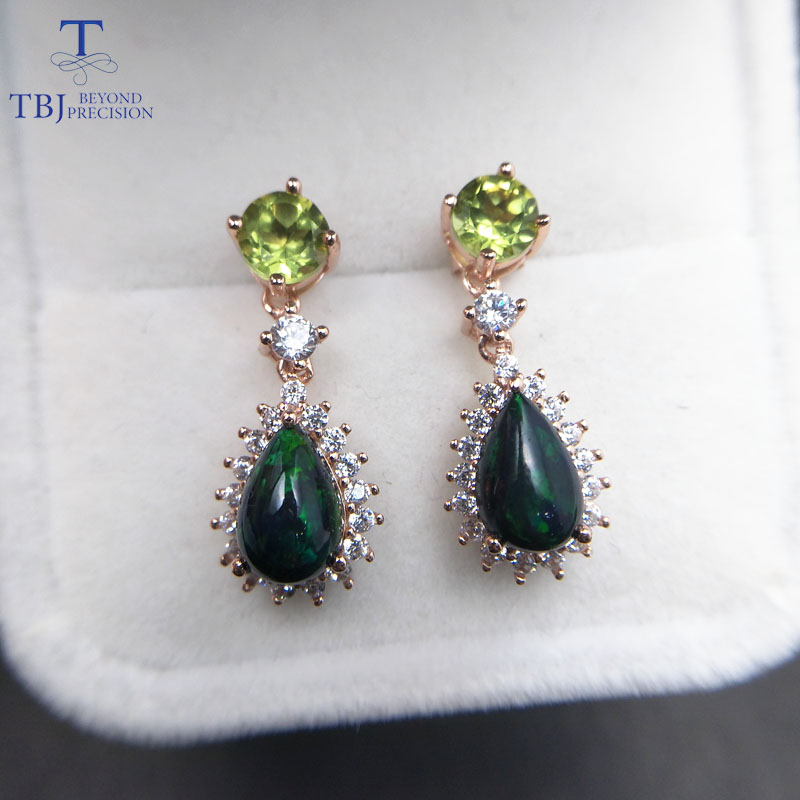 TBJ colorful natural gemstone earring with natural peridot and ethiopian opal in 925 sterling silver gemstone