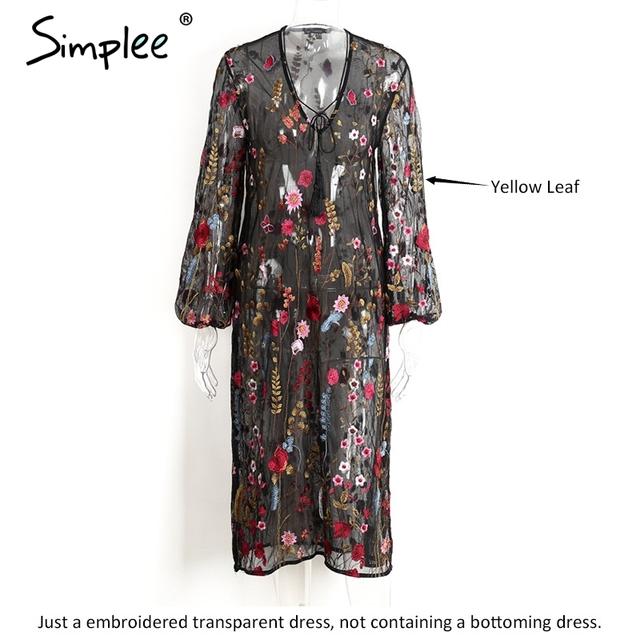 Simplee Embroidery summer dress women Vintage transparent mesh party dresses V neck split fringe sexy dress vestidos de festa
