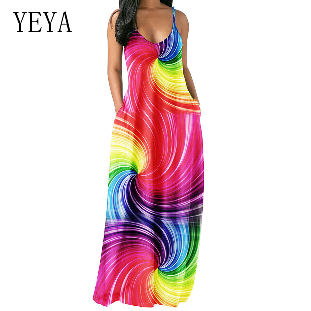 YEYA Fashion Rainbow Striped Colorful Dress Sexy V- Neck Sleeveless Loose Summer Drss with Pockets Women Casual Banquet Sundress