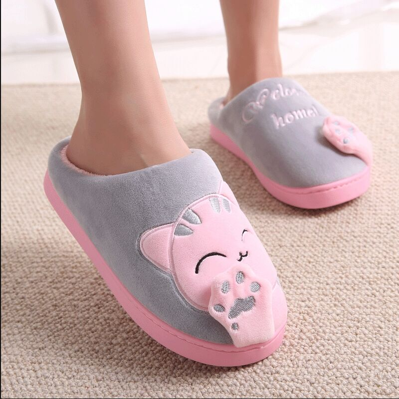 Cat Animal Prints Cute Home Slippers Short Plush Warm Soft Cotton Women Slippers Loves Floor Indoor Shoes Women Large Size 45 4
