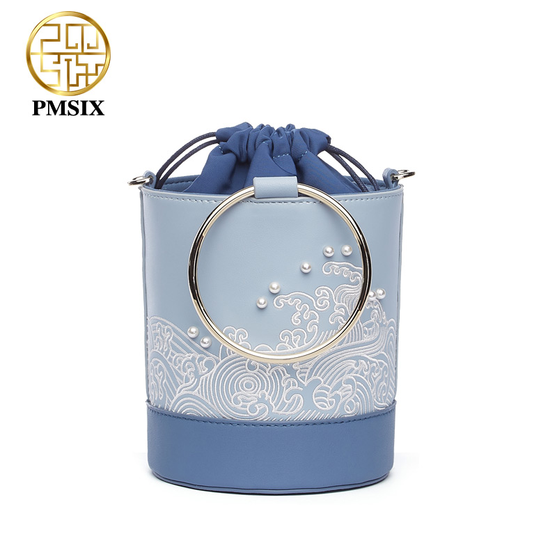 Pmsix New Fasion Embroidery pearl Handbags for women Metal wrist Bucket Cow Leather High quality Female casual messenger bags