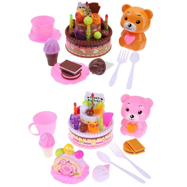 Simulation Birthday Cake Bear Cutting Fruit Set Gift Event Party Suppies Kids Pretend Play Music Toy