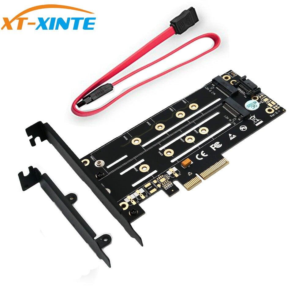 Double M.2 NGFF SSD NVME M Clé + B Clé à PCI Express 3.0 4X Contrôleur Hôte Carte D'extension PCIE m2 SATA Riser Adaptateur w/Support