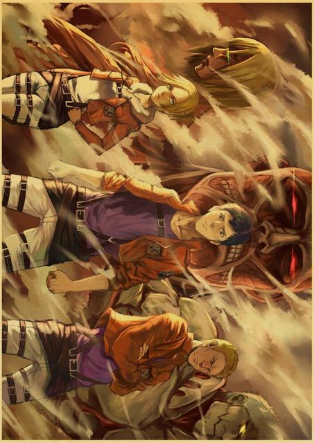 Affiches de Titan en papier kraft Anime japonais | Autocollant mural, peinture murale, Image claire, pour chambre Bar, à la maison