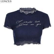 LEIMOLIS blue letter mesh ruffled collar t shirt women summer harajuku kawaii crop top punk rock gothic sexy streetwear tops