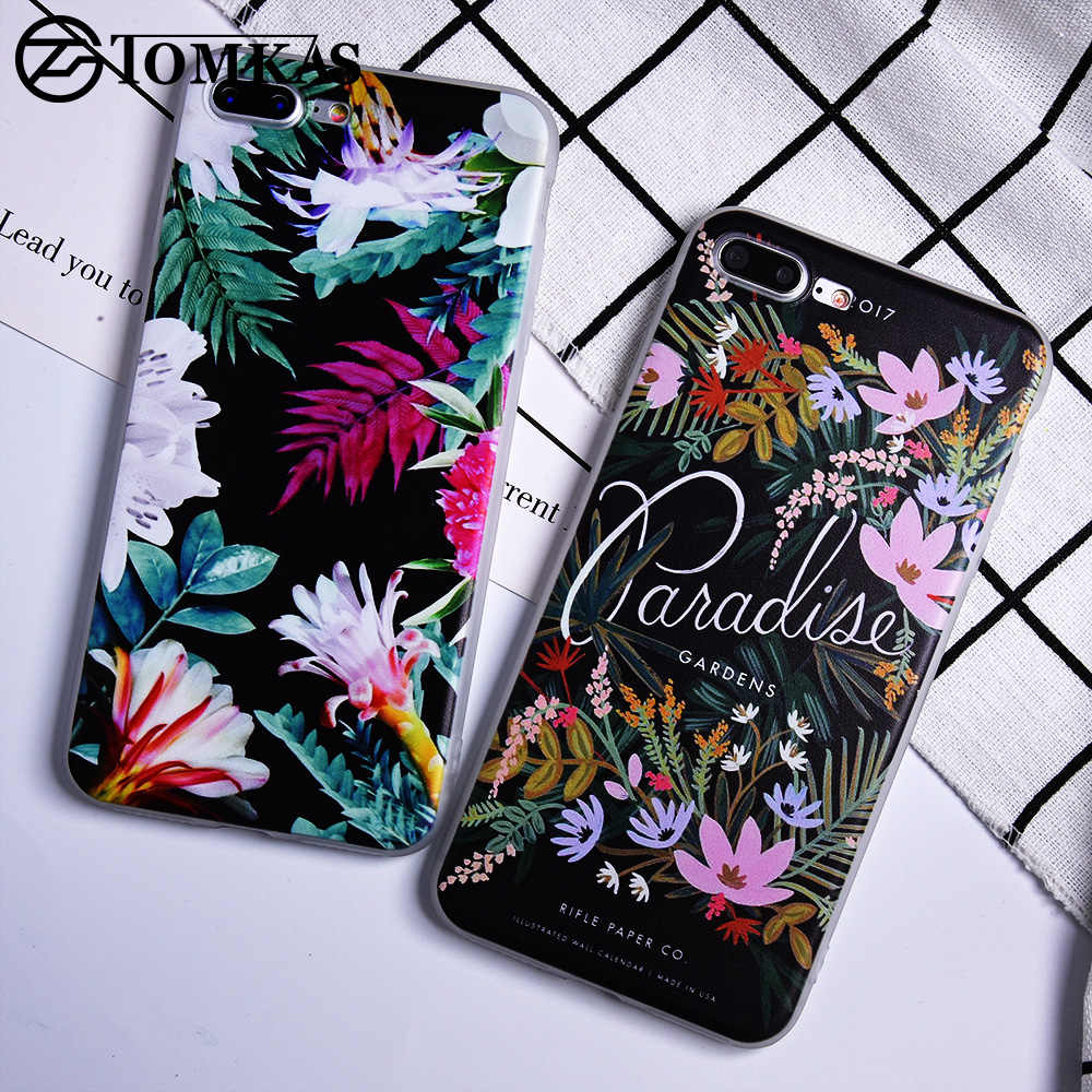 TOMKAS Patterned Case For iPhone 7 Plus Luxury Cute Case For iPhone 8 Plus Soft Silicone Cover Painted Print Animal Flower Plant