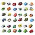 6 unids/lote Multicolor Modelo de Coche de Niño de Dibujos Animados de Plástico Mini Tire Hacia Atrás Juguetes Set de Juguetes educativos Para Niños