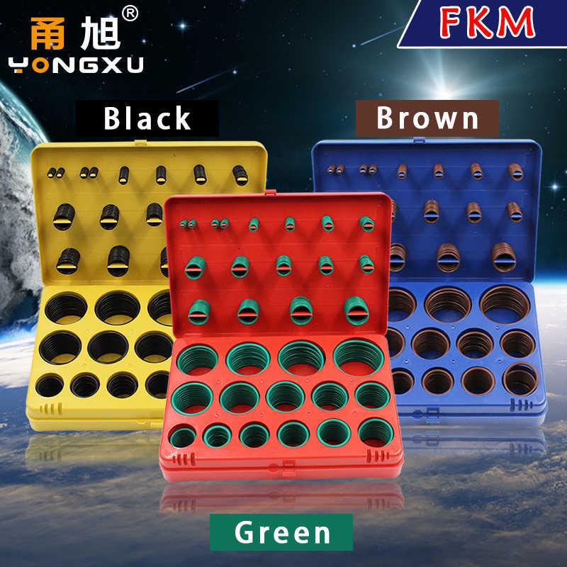 390PC ยางฟลูออรีนแหวนสีเขียว FKM O แหวนชุด 30 ขนาด Seal Orings ยางปะเก็นเครื่องซักผ้า O-แหวนชุดชุด Assortment ชุดกล่อง