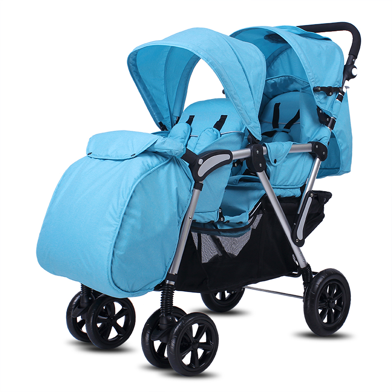 High Landscape Twins Stroller With Foot Cover, Foldable Twins Carriage, Portable Baby Cart with Rain Cover, Aluminium Twins Pram outdoor beach trailer with widen 10cm rubber wheel foldable kids wagon portable twins cart with roof outdoor beach carriage