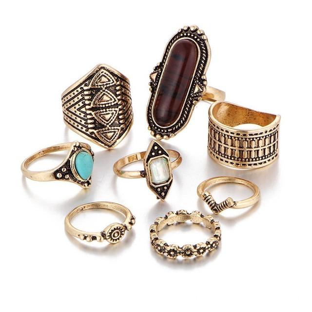 brixini.com - Melia™ Vintage 3 Color Crystal Flower Rings 8PCS