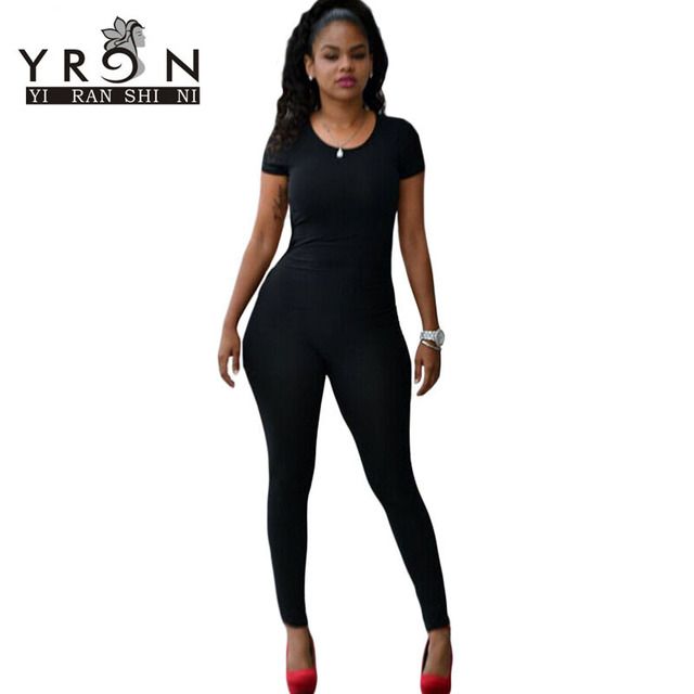 Black Friday Women Jumpsuit Long Pants Full Black Bodysuits Short Sleeve Tight-fitting Club Jumpsuits With Back Cutout LC60342