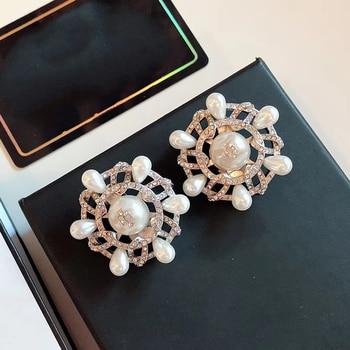Big Flower Earrings Pearl
