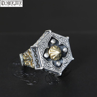 Real 925 Silver Taichi Ring Vintage Pure Silver Good Luck Ring Fengshui Bagua Lucky Symbol Ring Resizable