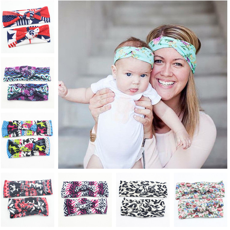 2016 New Mom and Me Headband With Knit Fabric Baby Girl Headband Mommy and me Matching Headbands Photo Prop Mom and Baby 1Set