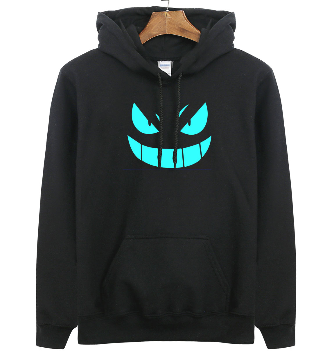 2018 Men's New Arrival Brand Hoodies Luminous Pokemon Go Pocket Monster Gengar Pullover Hoodie Sweatshirts Casual Fitness Hoody