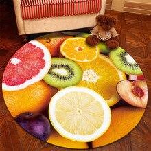 Круглый ковер фруктовый коврик с принтом ковер для жизни детская комната спальня пол ковер фланелевый декоративный ковер наземный коврик