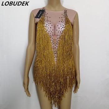 Gold Tassel Sparkly Crystals Bodysuit Stretch Leotard Bodysuit Bar Female DJ Singer stage Costume Dance Group performance Outfit