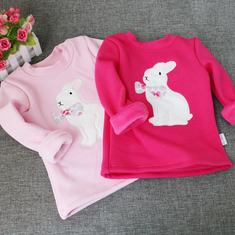 Winter Girls T-shirt Kids Tops Blouse Tees Velvet Loose Cute Rabbit Bottoming Shirts Long Sleeve Children Clothes for 1-4years knit cold shoulder bottoming t shirts in black