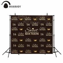 Allenjoy – arrière-plan pour anniversaire, mignon, couronne dorée noire de 16 ans, bokeh, décoration de fête pour filles, arrière-plan photo, tournage vidéo
