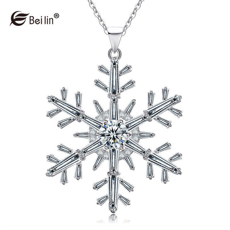 BEILIN 2017 New Cubic Zirconia Snowflake Pendant Necklace Women Long Sweater Chain Necklace Christmas Gifts Collares AF820010