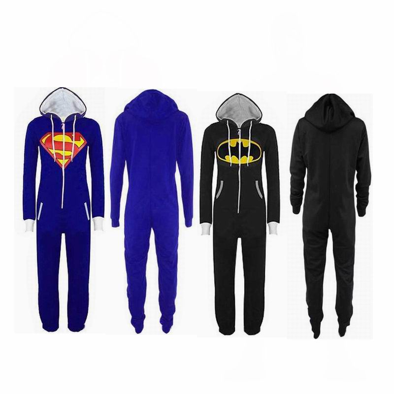 Superman Cosplay Costumes Batman Jumpsuit Adult Unisex Pajamas Superhero Cosplay Sleepwear New Year Party Pajamas Hero