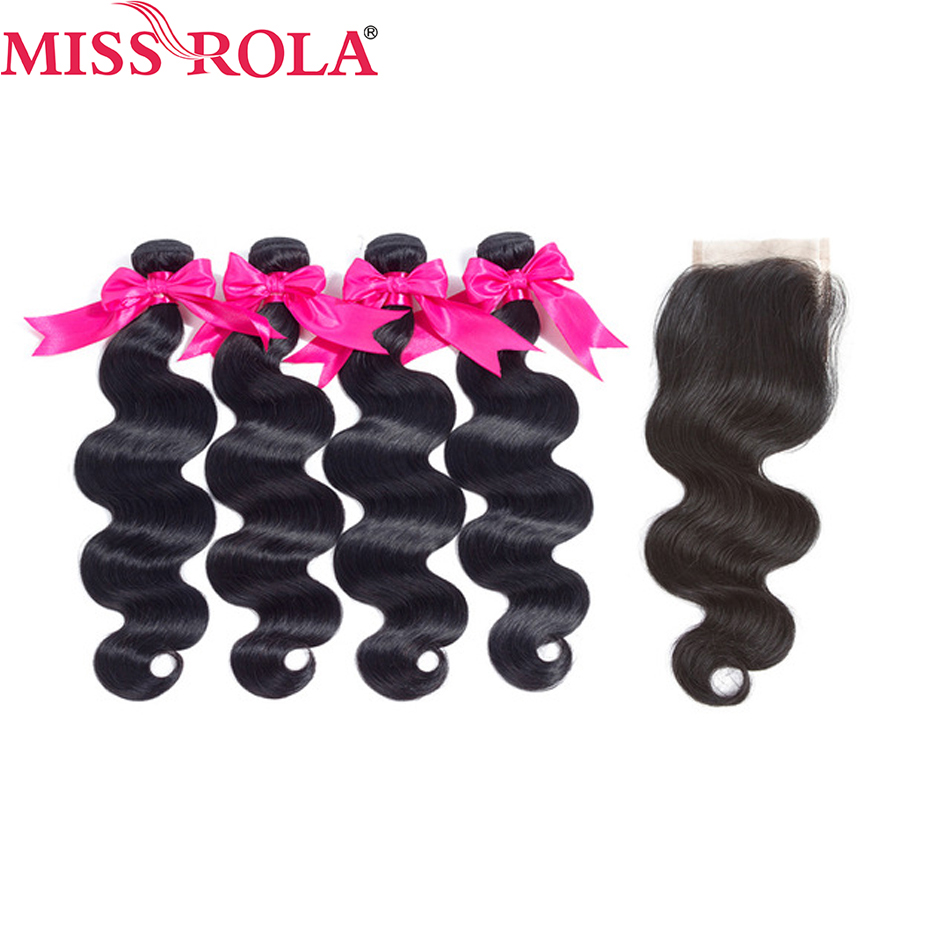 Miss Rola Hair Peruvian Natural Color Non-Remy Hair 8-26 Inches Body Wave 4 Bundles With Closure 100% Human Hair Extensions Pale