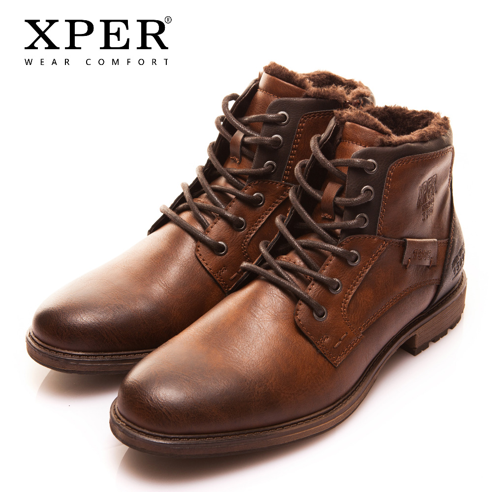XPER Winter Fur Warm Men Boots Big Size 40-48 Vintage Style Men Shoes Casual Fashion Zipper Motorcycle Boots Shoes XHY12504M