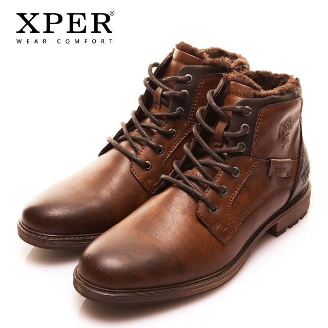 XPER Kış Kürk Sıcak Erkek Botları Büyük Boy 40-48 Vintage Stil erkek ayakkabısı Rahat Moda Fermuar Motosiklet Boots Ayakkabı XHY12504M