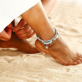SEVENSTONE Natural Store 2PCS Boho Creative Double-footlet Starfish Rice Beads Enkelbandje Yoga Beach Summer Anklets for Woman 4