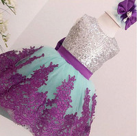 2017 Summer Short Blue Girl Prom Dress With Purple Lace Bow And Silver Sequins Baby 1