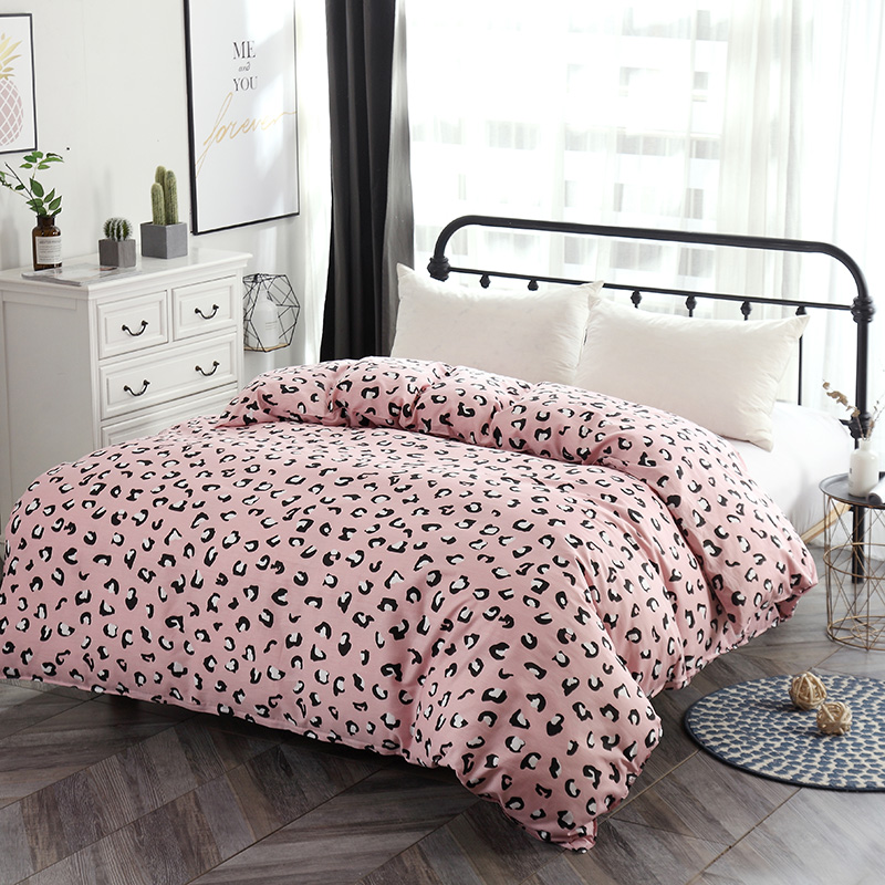 1Pc Pink Leopard Duvet Cover With Zipper Cotton Quilt Cover Comforter Cover Blanket Case Single Twin Full Queen King Bedclothes