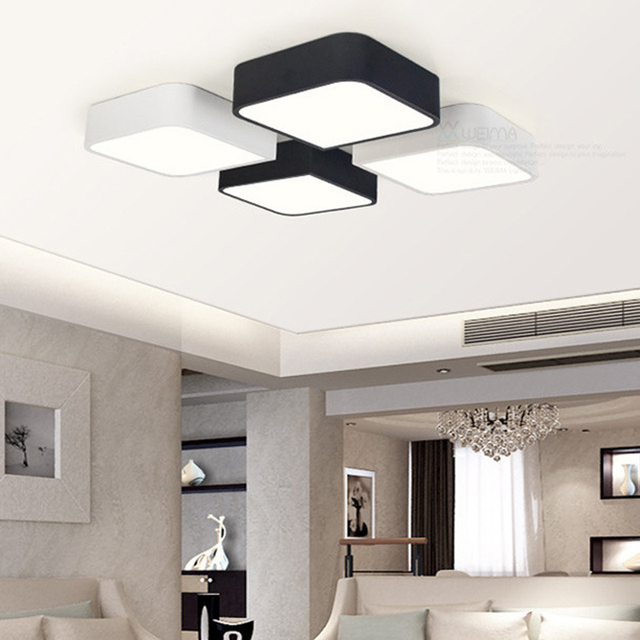 Simple DIY LED Ceiling Light Fixture Living Room Bedroom Black White Ceiling  Mounted Lamp Modern