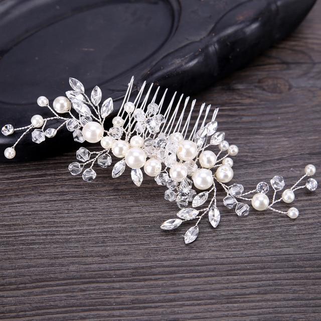 KMVEXO 2018 New European Design Leaves Wedding Hair Accessories Pearl Crystal Flower Bridal Hair Comb Wedding Hair Jewelry