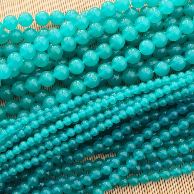 734626e26 Lake Blue Color Jades 6-12mm Round Loose Beads 15