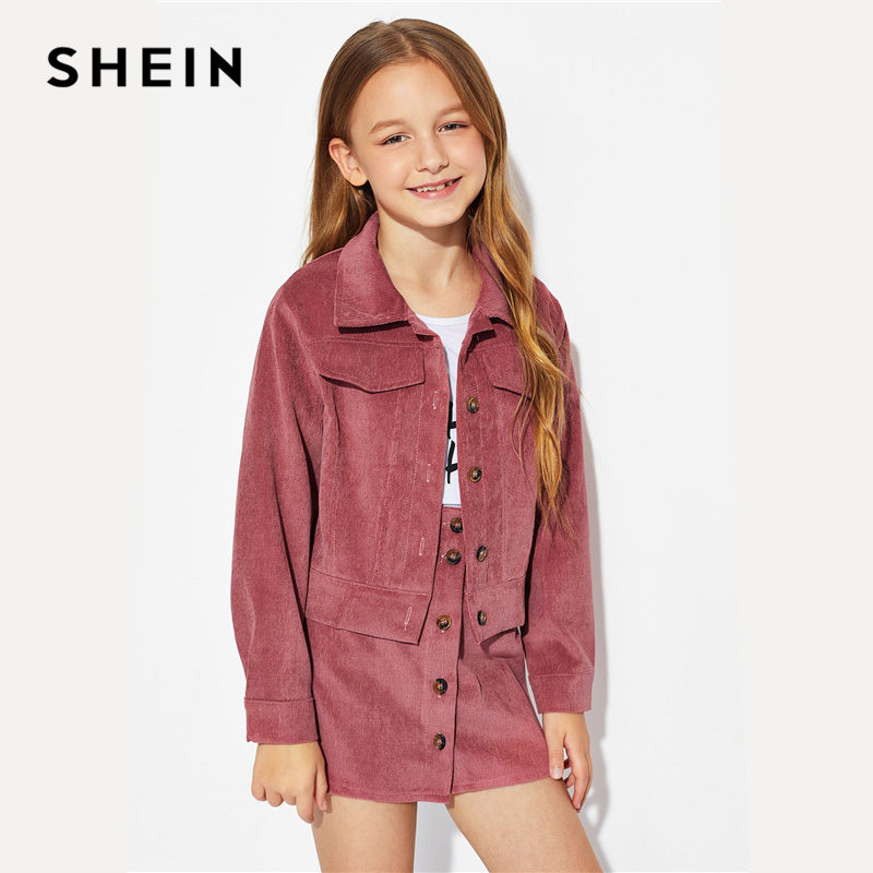 688d531419 SHEIN Kiddie Rust Button Corduroy Jacket And Skirt Girls Clothing Two Piece  Set 2019 Spring Long Sleeve Pocket Teenage Clothes-in Clothing Sets from  Mother ...