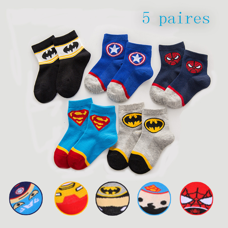 5 Pairs Infant Kids Cartoon Socks Spiderman Iron Man Batman Boys Breathable Short Socks Child Baby Marvel Comic Socks Set