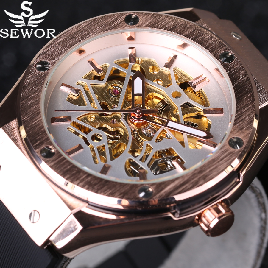 Luxury Brand Stylish case design Automatic Mechanical Watch Mens Wristwatch Rubber Band Military Army Watches Sport Reloj Hombre luxury mechanical watches mens skeleton silicone rubber strap wristwatch military army sport brand sewor automatic watch 11color
