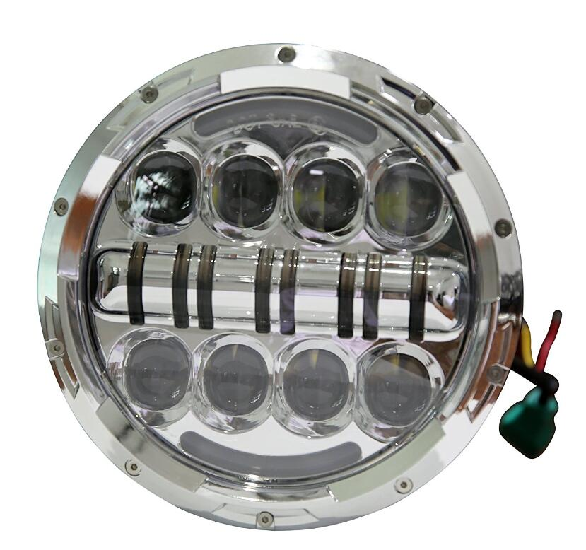 1 Piece Silver 7inch LED Motorcycle Headlight High Low Beam Car Lights with Yellow Turn Signal Eye for jeep Wrangler CJ JK TJ colorful hi low beam round 7 led headlight head light with bulb drl angle eye for wrangler tj lj jk cj harley motorcycle 7inch