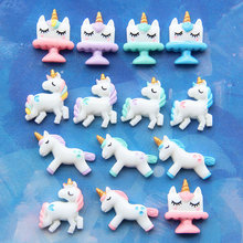Unicorn charm Phone box jewelry Flat Back Resin Cabochon Kawaii DIY Decoration Accessories wholesale lots