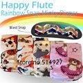 Os rainbow happyflute fralda de pano de bolso com duplo vazamento guardas, s m l ajustável, à prova d' água e respirável para 5-15 kg bebê