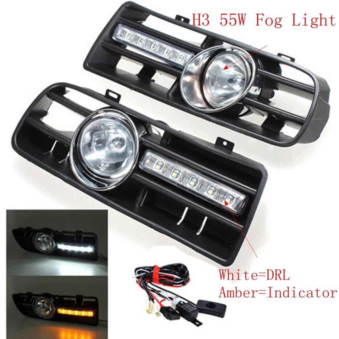 2Pcs Car Front Bumper Grille Driving Fog Lamp Light Set With LED for VW GOLF MK4 1997-2006