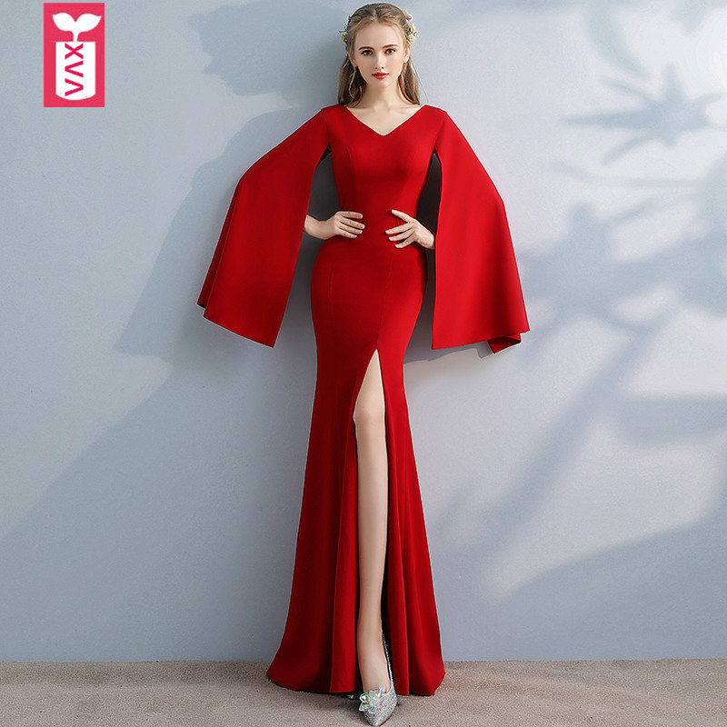 XVA Export 2018 vin rouge formel trompette soirée fourche ouverte étage longueur robe femmes de mariage Maxi long côté fendu robe