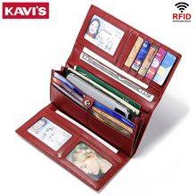 bd3412ada1e KAVIS Rfid Genuine Leather Women Wallet Female Long Clutch Lady Walet  Portomonee Luxury and Money Bag