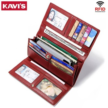 KAVIS Rfid Genuine Leather Women Wallet Female Long Clutch Lady Walet Portomonee Luxury and Money Bag Handy Coin Purse for Girls