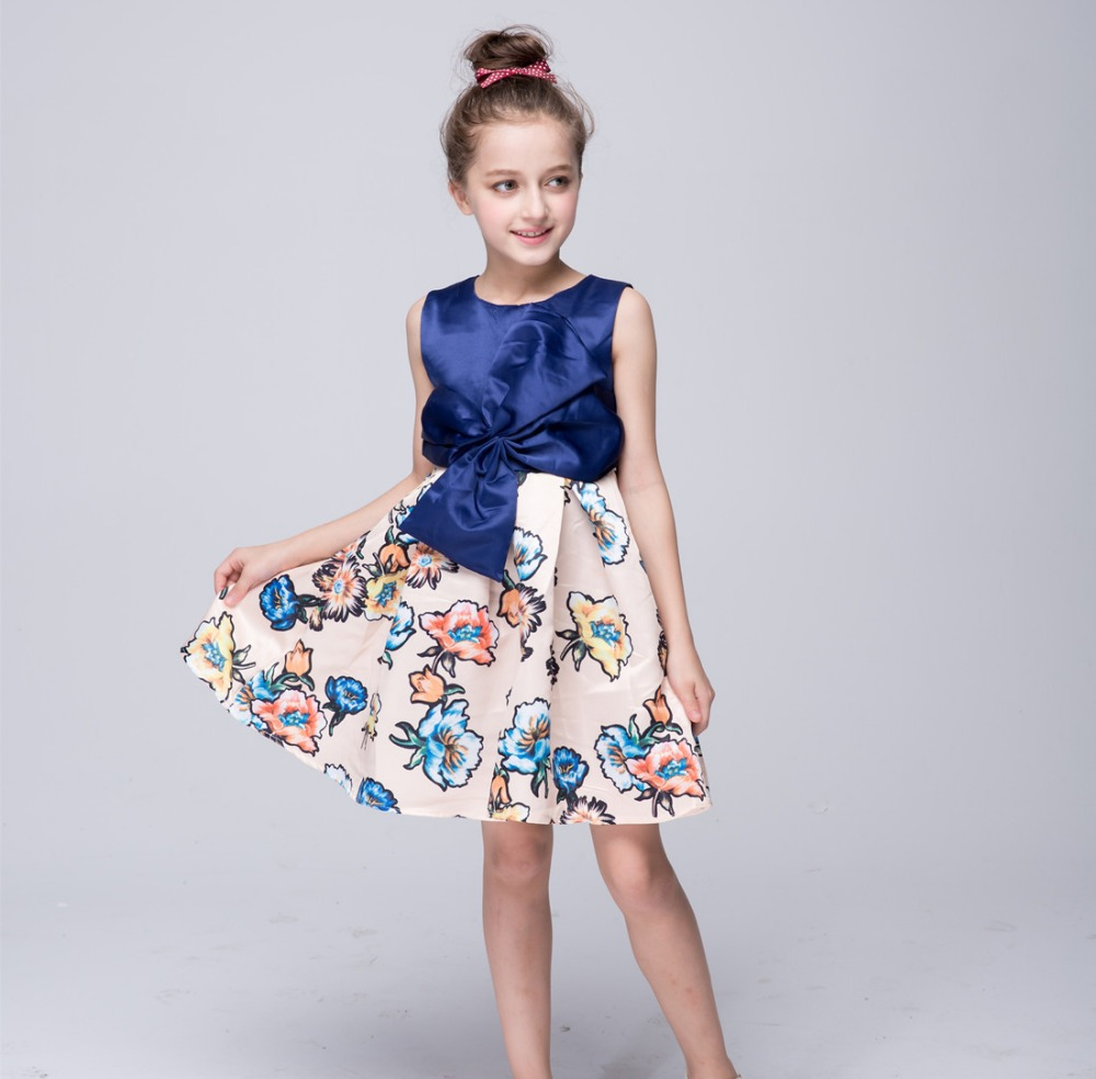 In Stock Newest Hot Sale European and American style Print Flowers Sleeveless Ball Gown For kid baby girls Princess dresses 3-8Y