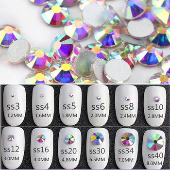 Wholesale SS3-SS40 1440-14400PCS/PACKS Crystal AB 3D Nail Art Decoration rhinestones glue on flatback Clothing rhinestone 2